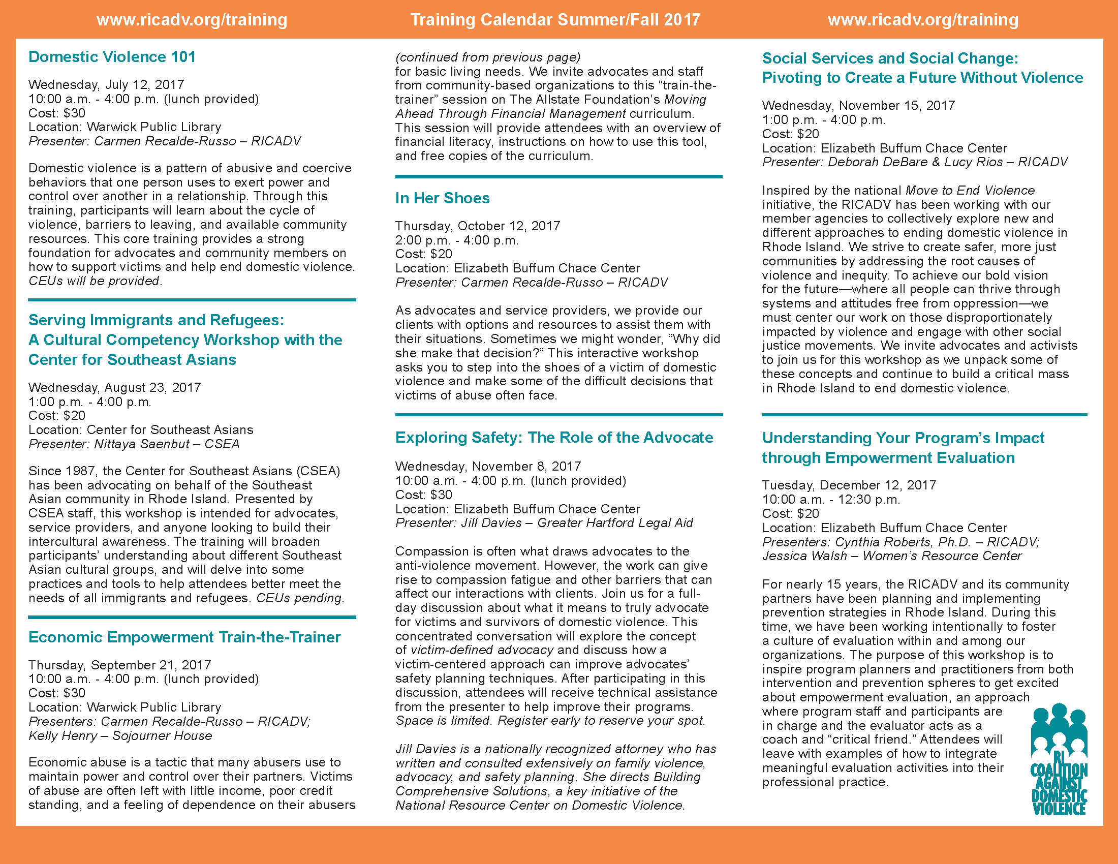 RICADV Training Calendar Summer Fall 2017